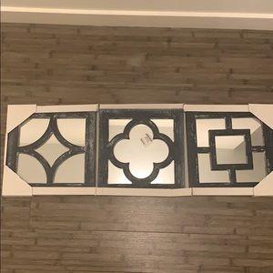 3 Gray wall art mirrors
